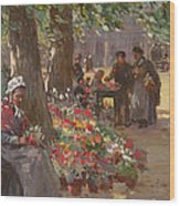 The Flower Seller Wood Print
