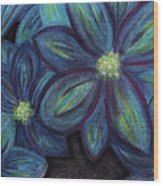 The Flowers Are Blue Wood Print