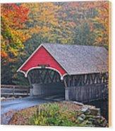 The Flume Covered Bridge Wood Print