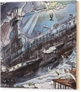 The Flying Submarine Wood Print