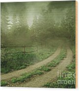 The Foggy Road Wood Print