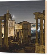 The Forum Temples At Night Wood Print