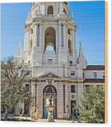 The Fountain - The Beautiful Pasadena City Hall. Wood Print