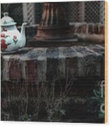 The Fountain And The Teapot Wood Print
