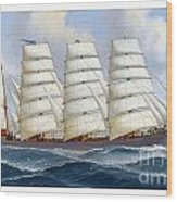 The Four-masted Barque Cedarbank At Sea Under Full Sail Wood Print