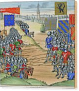 The French Defeat The Flemish Wood Print