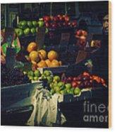 The Fruit Seller - New York City Street Scene Wood Print