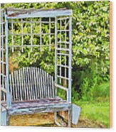 The Garden Bench In Spring  Wood Print
