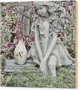 The Garden Fairy Wood Print by Peggy Hughes