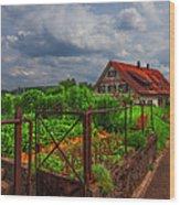 The Garden Gate Wood Print by Debra and Dave Vanderlaan