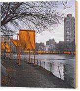The Gates - Central Park New York - Harlem Meer Wood Print by Gary Heller