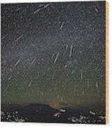 The Geminids Meteor Shower Streaks Wood Print