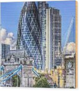 The Gherkin And Tower Bridge Wood Print