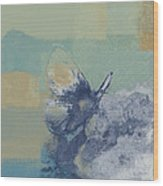The Giant Butterfly And The Moon - J216094206-c09a Wood Print by Variance Collections