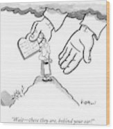 The Giant Hands Of God Hold Up The Tablets Wood Print