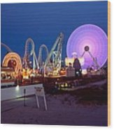 The Giant Wheel At Night  Wood Print