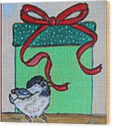 The Gift - Christmas Chickadee Whimsical Painting By Ella Wood Print