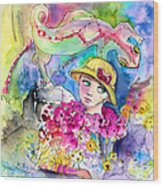 The Girl And The Lizard Wood Print