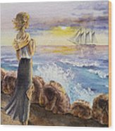 The Girl And The Ocean Wood Print