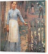 The Girl At The Gate Wood Print