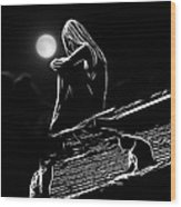 The Girl On The Roof Wood Print