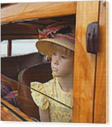 The Girl The Hat The Woodie Wood Print by Ron Regalado