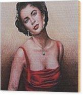 The Glamour Days Elizabeth Taylor Wood Print