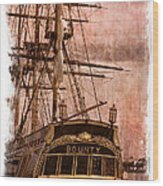 The Gleaming Hull Of The Hms Bounty Wood Print by Debra and Dave Vanderlaan