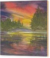 The Glow Of Maine Wood Print