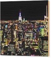The Glow Of The New York City Skyline Wood Print