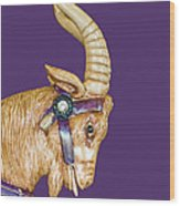 The Goat Who Likes Purple Wood Print