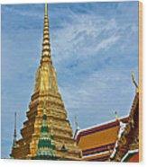 The Golden Chedis At Grand Palace Of Thailand In Bangkok Wood Print