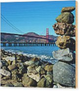 The Golden Gate Rock Pile Wood Print