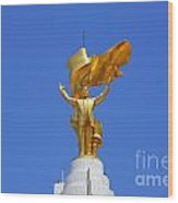 The Golden Niyazov Statue On Top Of The Arch Of Neutrality In Ashgabat Turkmenistan Wood Print