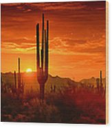 The Golden Southwest Skies  Wood Print