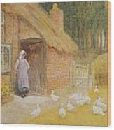 The Goose Girl Wood Print by Arthur Claude Strachan