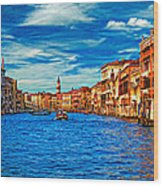 The Grand Canal Impasto Wood Print