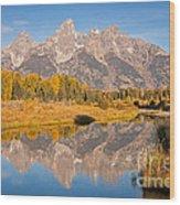 The Grand Tetons At Schwabacher Landing Grand Teton National Park Wood Print