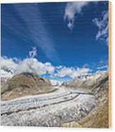 The Great Aletsch Glacier And Deep Blue Sky Wood Print