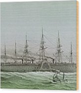 The Great Eastern Laying Electrical Cable Between Europe And America Wood Print