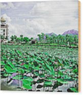 The Great Lotus Flower Pond Wood Print by Jeng Suntorn niamwhan