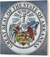 The Great Seal Of The State Of Arkansas Wood Print