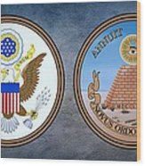 The Great Seal Of The United States Obverse And Reverse Wood Print