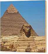 The Great Sphinx Of Giza And Pyramid Of Khafre Wood Print