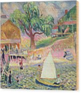The Green Beach Cottage Wood Print