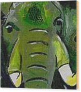 The Green Elephant In The Room Wood Print