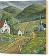 The Green Hills Wood Print