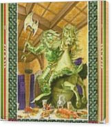 The Green Knight Christmas Card Wood Print