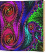The Green Leaf Fractal Wood Print