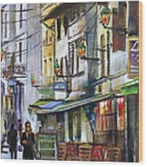The Green Lights Of Agen Wood Print by Shirley  Peters